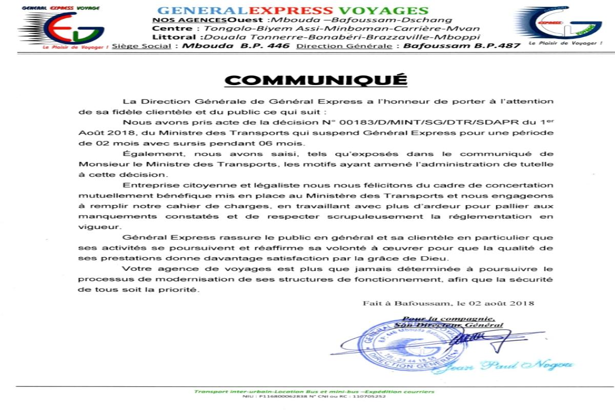Général Express répond non au Ministre des Transports
